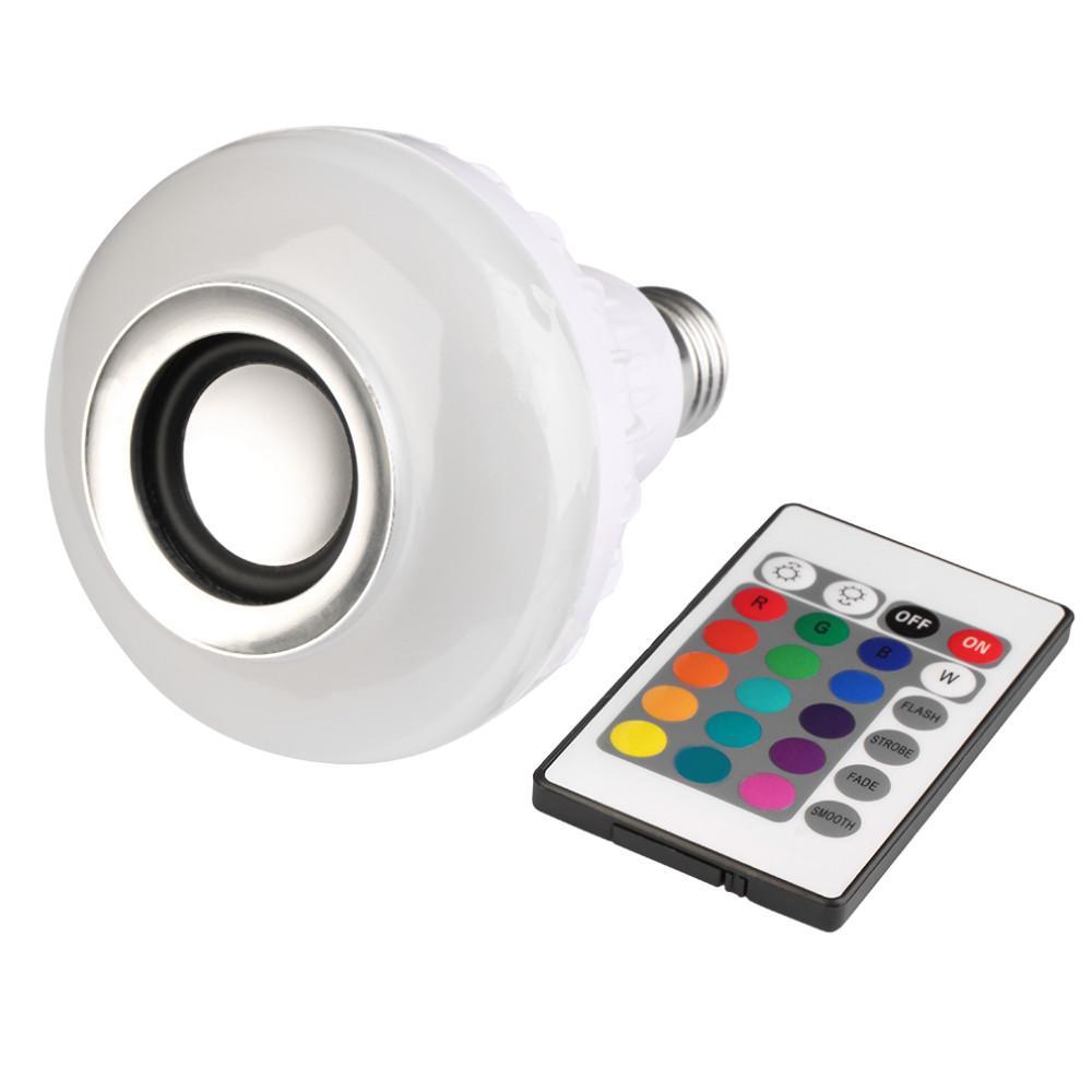 12 Watt Drahtlose E27 mini Bluetooth Lautsprecher Fernbedienung Mini Smart LED Audio BT Lautsprecher RGB 7 Farbe Licht Warme Birne Musik Lampe Lichter