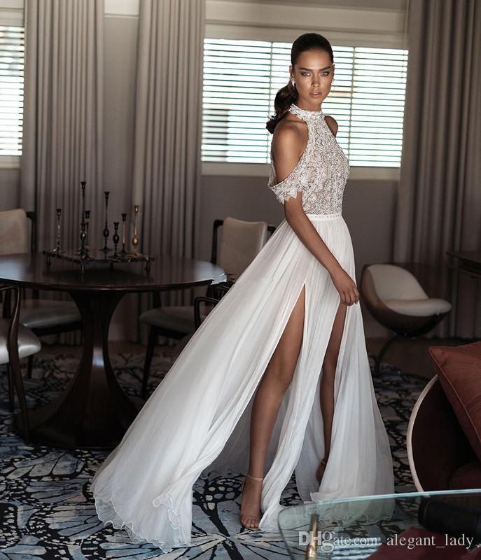 Elihav Sasson Bohemia Date Sexy Robes De Mariée À La Plage À Col Montant De L'épaule Délicates Perles En Mousseline De Soie Split Robe Dos Nu