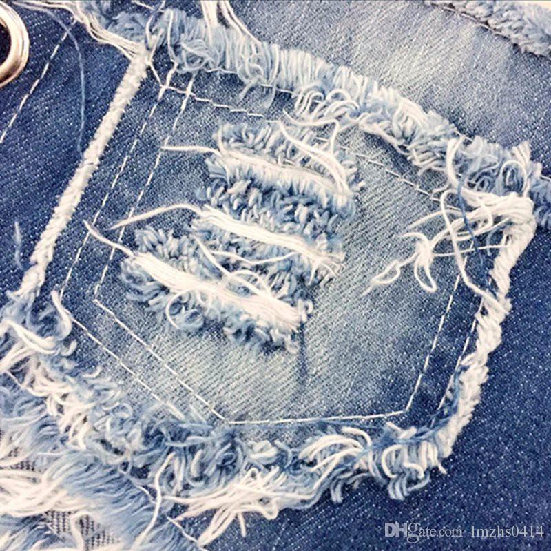 Jeans sexy delle donne Pantaloncini di jeans Summer Fashion Cotton Lace-upLadies Skinny Super Short Jeans Girls J2