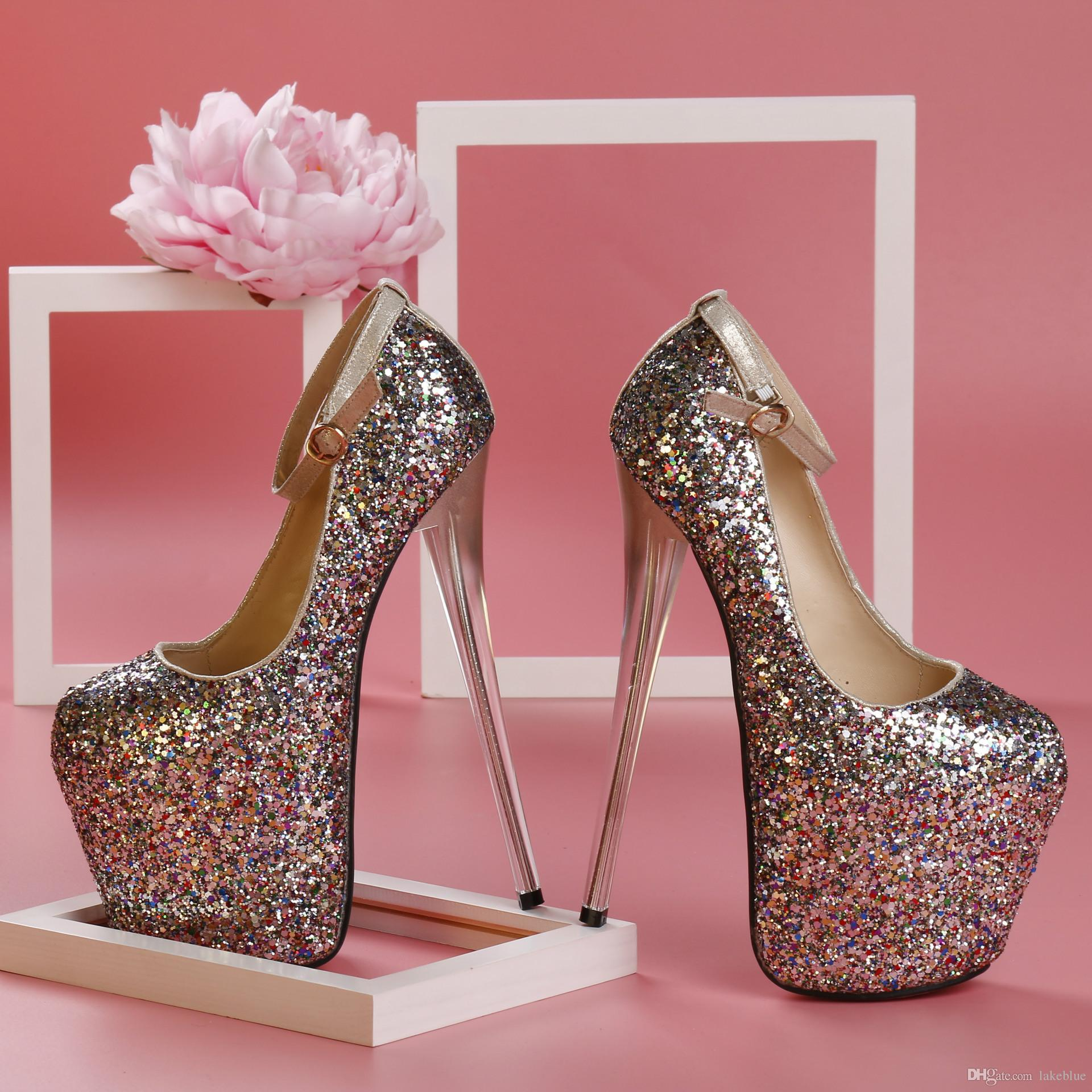 2016 Ladies Leather Super 20cm High Heel Sandals 9cm Platform Silver Heels  Sexy Glitter Dance Party Rolado Buckle Dress 34-43 Super High Heel 20cm  High Heel ... 588367ea12ed