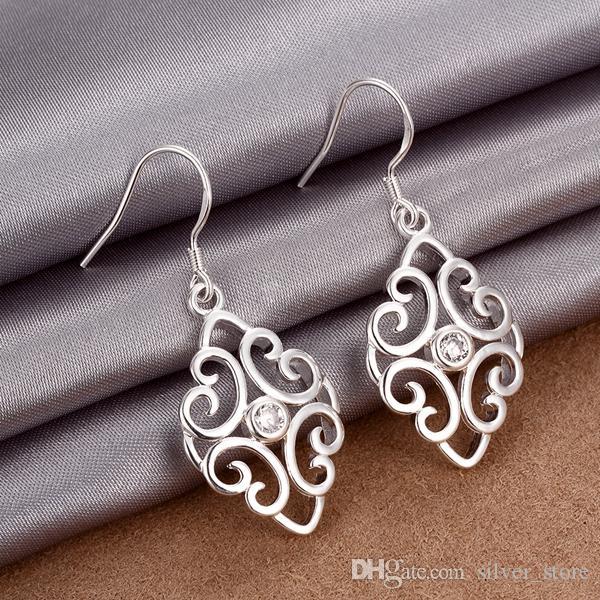 Best gift New arrival hollow fashion 925 earrings STPE006,Best gift full gemstone women's sterling silver Dangle Chandelier earrings