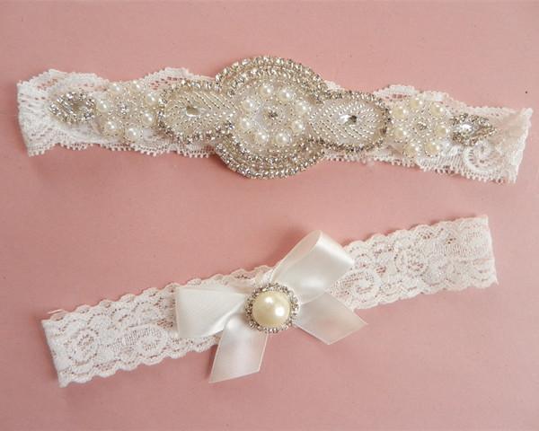 2016 Wholesale Handmade Rhinestone Garters Bridal Garter Wedding Accessories Blue Belt Brides From