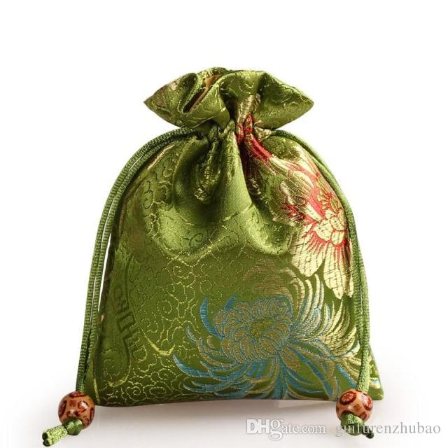 Thicken chrysanthemum Small Jewelry Pouch Drawstring Silk brocade Gift Packaging Bag perfume Makeup Tools Storage Pouch Candy Tea Favor Bag