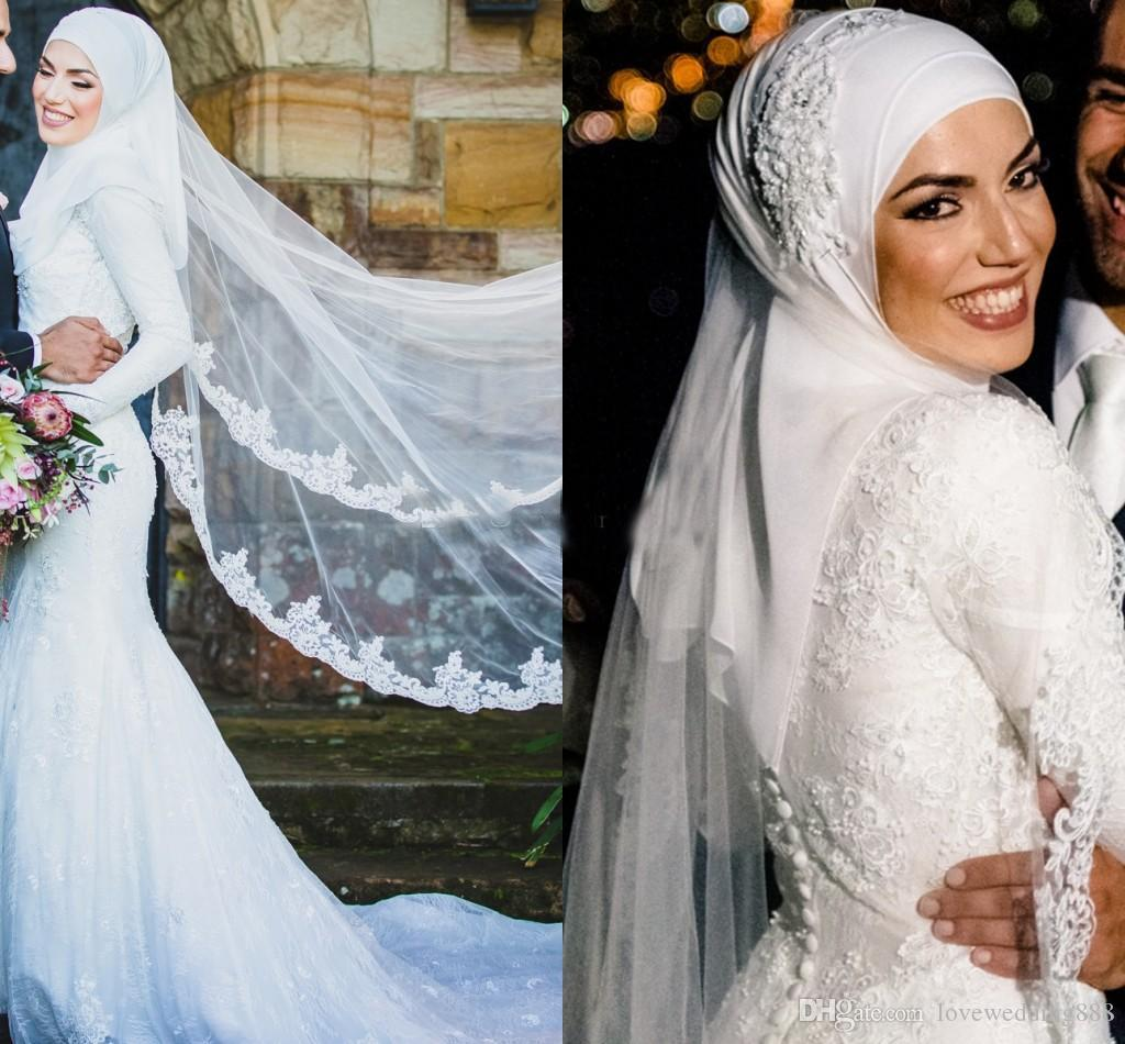2019 Muslim Mermaid Wedding Dresses with Long Sleeves High Collar Covered Button Full Back Sweep Applique Lace Train Bridal Gowns