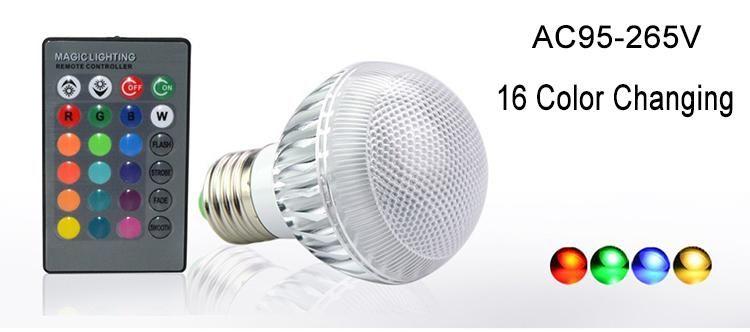 Nuovo IC modulo 16 che cambia globo della sfera 9W Lampadina luci RGB LED E27 B22 con telecomando libera il trasporto di goccia