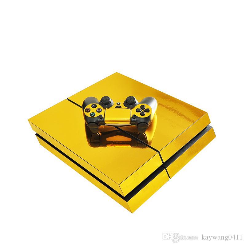 الذهبي نمط الفينيل الشارات PS4 الجلد ملصقا مجموعة كاملة وحدة التحكم الجلد + 2 ملصقات الجلد واقية تحكم