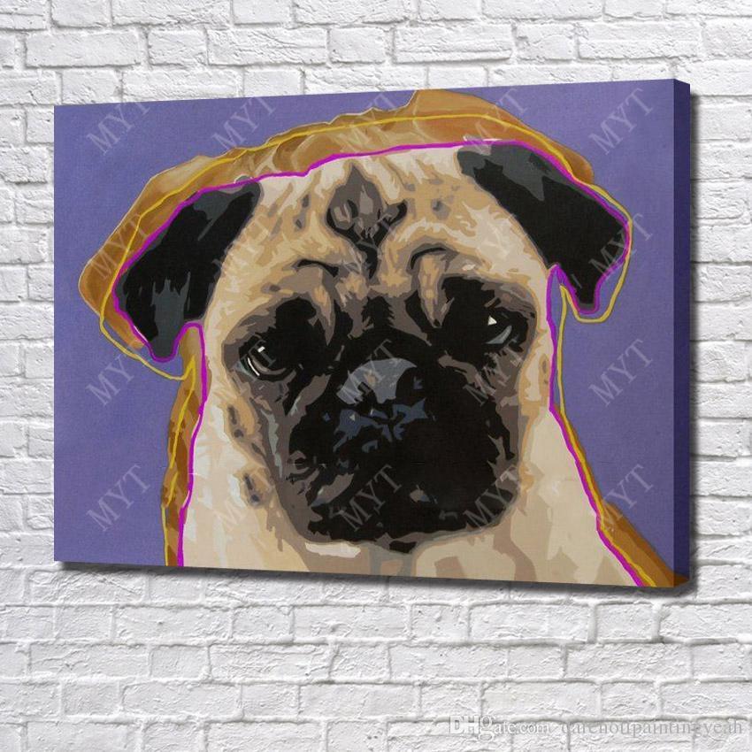 Nouveautés Chien Moderne Peinture à L'huile Mur Art Décoratif Salon Mur Photos Animal Peinture à L'huile