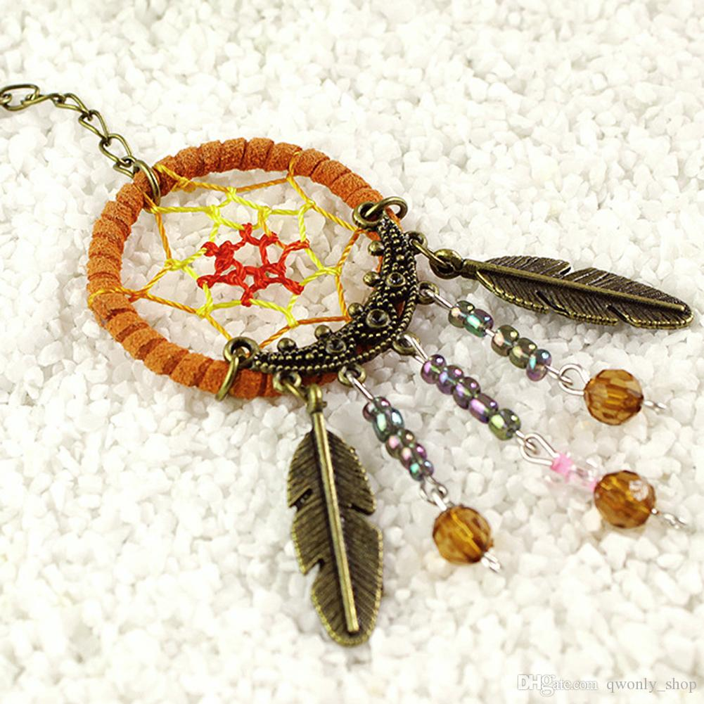 2016 New 2X Unique Key Chain Ring Feather Bead Dream Catcher Keyring Keychain Handmade Dreamcatcher Gift