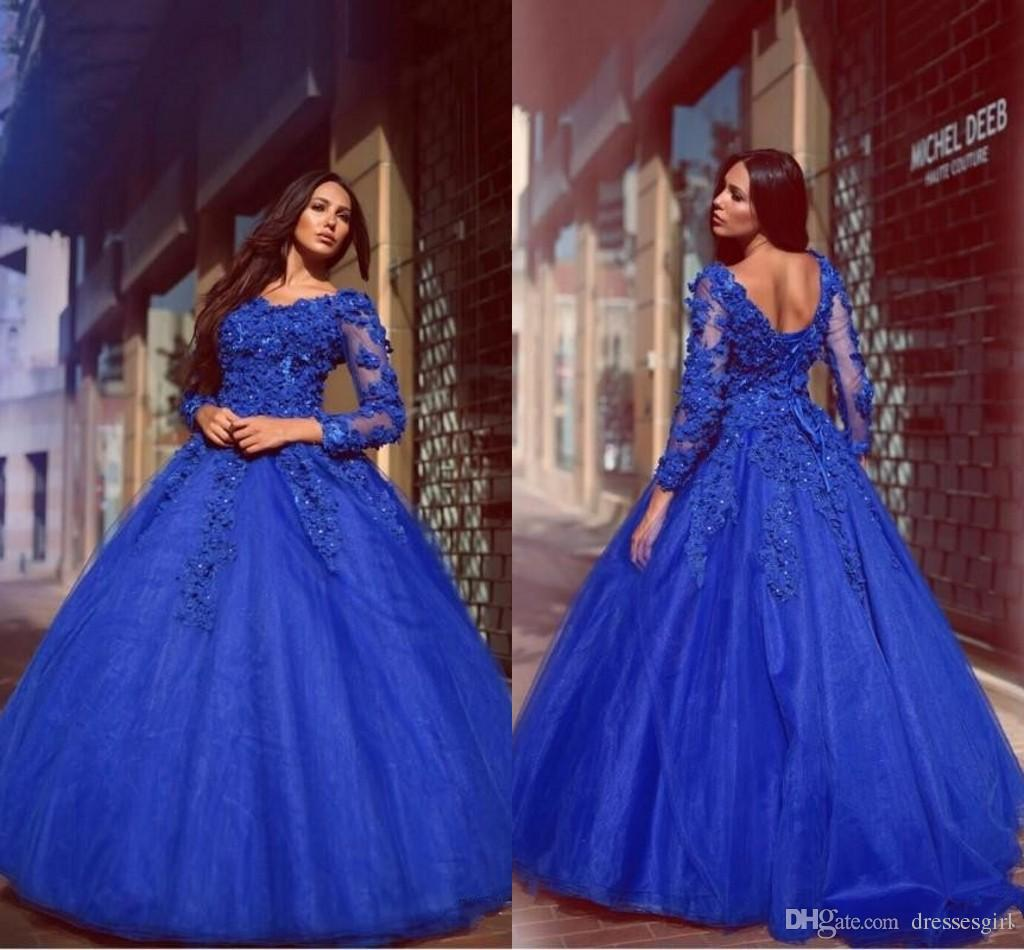 5df740267b1 Glamorous Vestidos Royal Blue Ball Gown Quinceanera Dresses Flowers  Appliqued Floor Length Lace Up Long Sleeves Prom Evening Gowns Quinceanera  Dresses Plus ...
