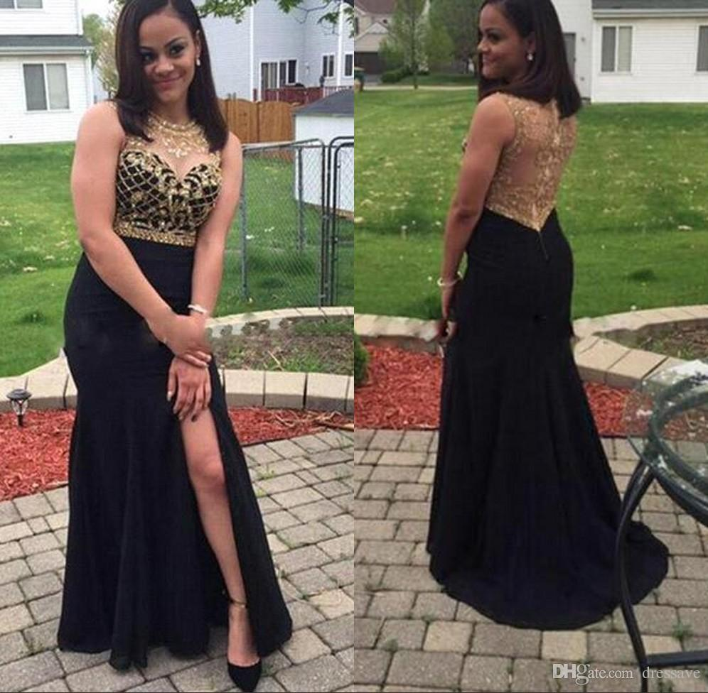 sexy 2017 long black mermaid prom dresses sheer jewel gold beaded