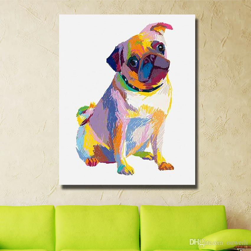 Modern home wall decor handmade cartoon animal dog oil painting wall pictures for bedroom