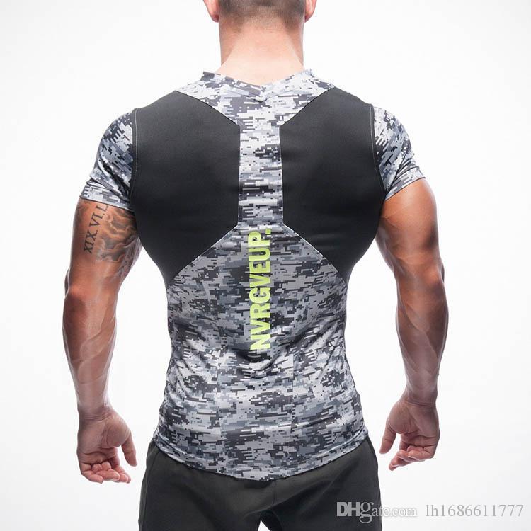 Dr Muscle Fitness Brüder T-Shirts Tops Männer enge Sport Weste Lauftraining Sport Kompression Kleidung Männer V-Ausschnitt kurze Ärmel T-Stücke