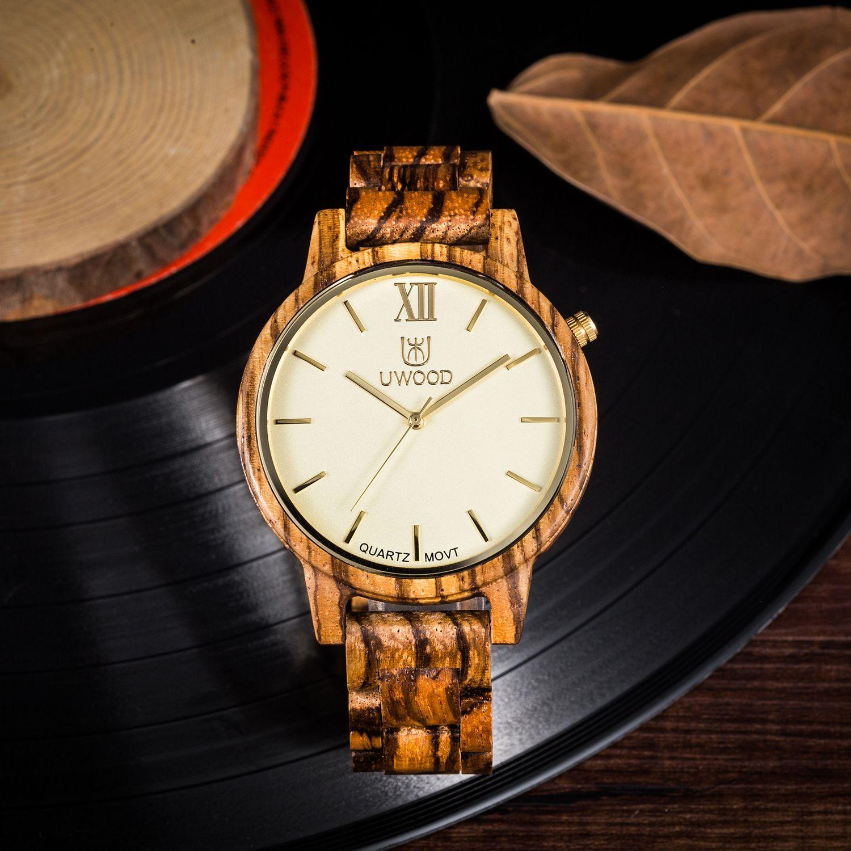 766b78d61cce Compre Uwood 2017 Cebra De Moda Sandalias De Madera 100% Reloj Analógico De  Madera Puro Movimiento De Cuarzo Suizo Original Reloj De Madera Para  Hombres De ...