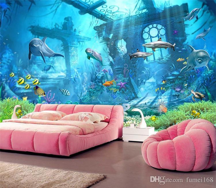 3D em relevo Sea World Fish foto papel de parede mural de parede papel de parede para crianças quarto sala de estar Wall Art Decor Minion papel de parede