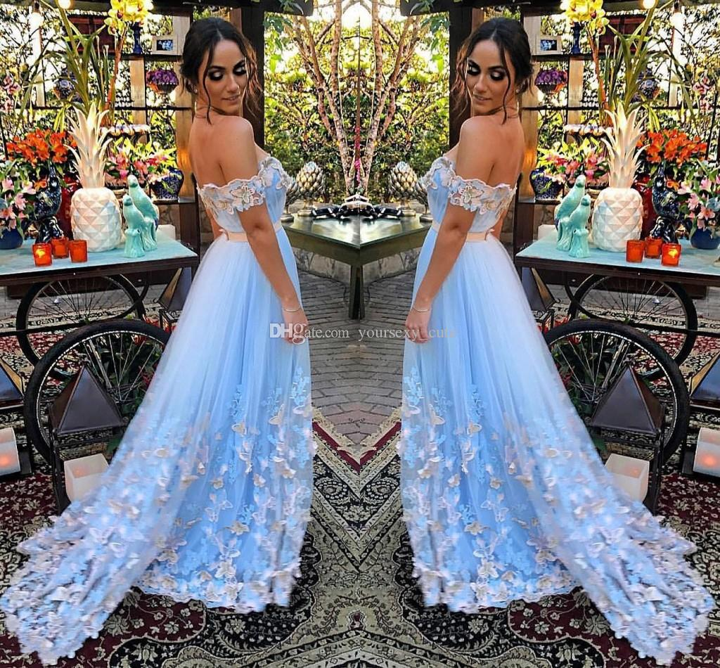 d092090e66 Fairy Light Blue Tulle Evening Dresses Off Shoulder Pleated Butterfly  Appliques Backless Formal Evening Gowns Prom Dresses Sweep Train Evening  Dress Pattern ...