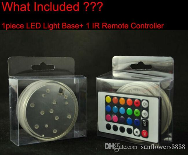 3AAA con pilas IR Remote Controlled 10 Multicolors SMD LED florero luz, sumergible Led luz, impermeable Floralyte luz