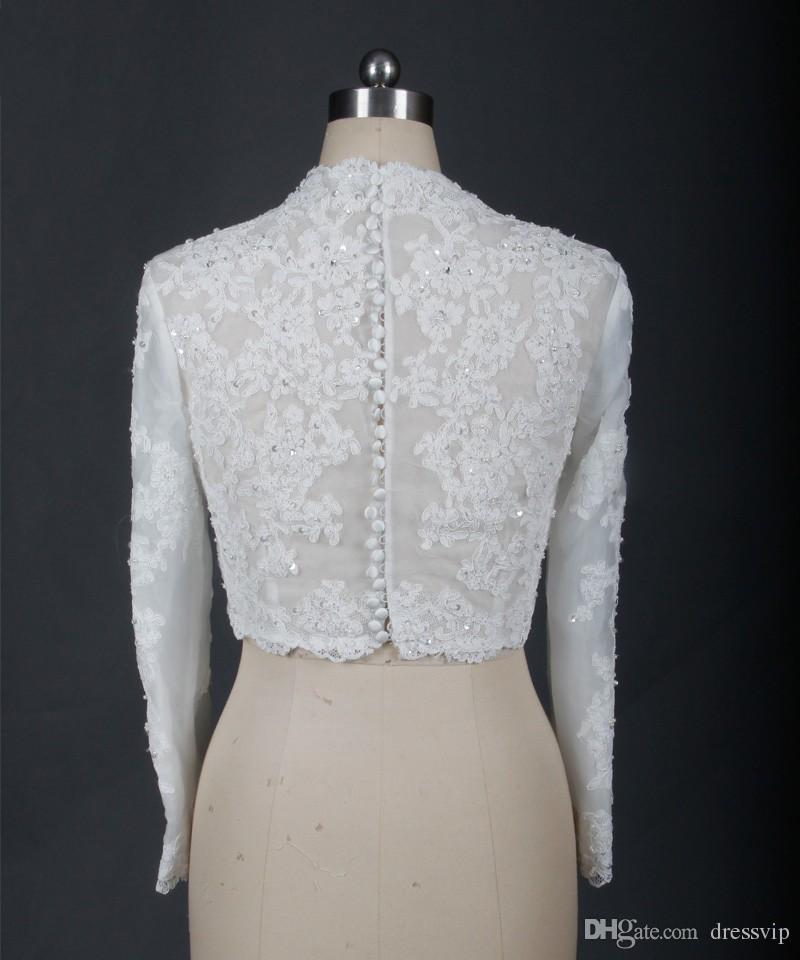 Günstige Bridal Wraps Modest Alencon Lace Perlen V-Ausschnitt Pailletten Hochzeit Braut Bolero Für Brautkleider Langarm Spitze Applique Jacke