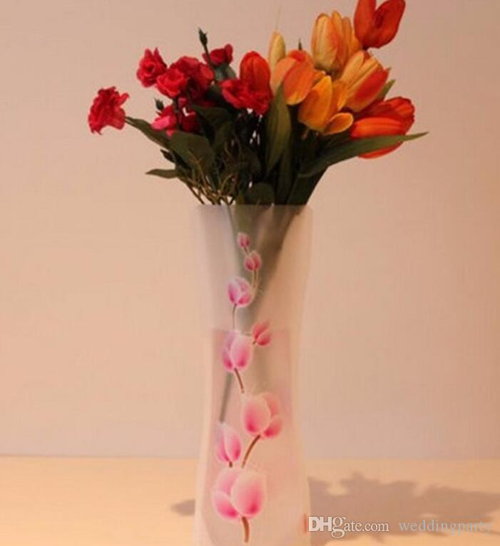 접이식 꽃병 도매 결혼식 꽃병 물 가방 PVC 플라스틱 장식 홈 장식품 전체 판매 무료 배송