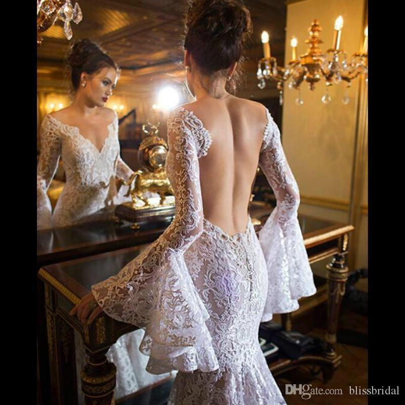 Hot Sexy Beach Lace Wedding Dresses Long Poet Sleeves Sheer Bridal Dresses 2016 Backless Mermaid Wedding Gowns V neck