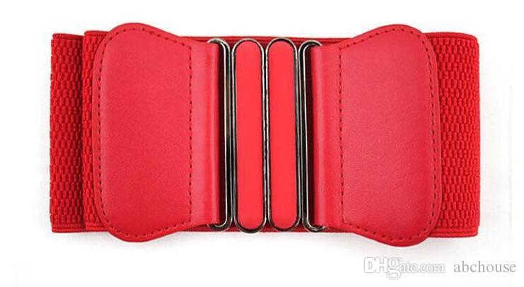 Heißer verkauf frauen dame elastische kunstleder schnalle taille breite gürtel stretch bund cinch versandkostenfrei