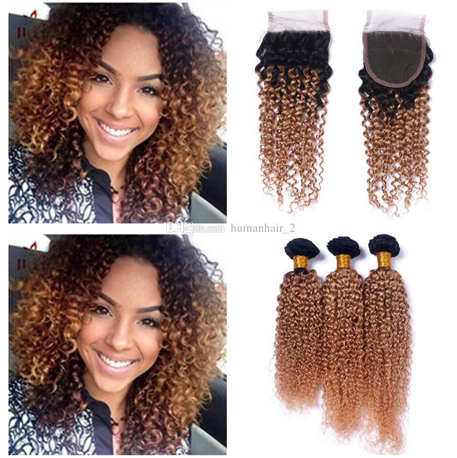 Afro Kinky Honey Blonde Cheveux Avec Fermeture En Dentelle # 27 Brun Blonde Fermeture De Dentelle Avec Des Bundles Peruvian Virgin Cheveux Humains Tisse Avec La Fermeture