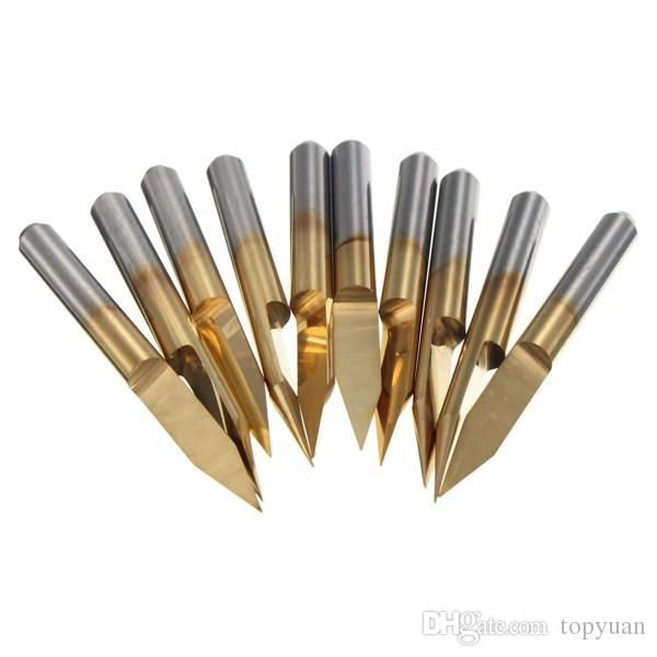 3.175mm Shank 30 Degree 0.2mm PCB Engraving Bits Titanium Coated Carbide CNC Cutter Bits