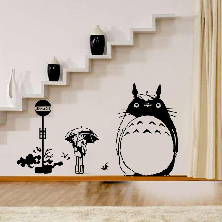 Diy wall sticker japanese my neighbor totoro movie movie cartoon wall decal for kids room home decoration wall cling decals wall cling ons from qwonly shop