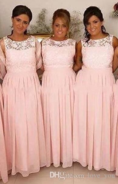Hellrosa Brautjungfer Kleider Jewel Lace Mieder A-line geraffte Langer Chiffon Formale Tragen Reißverschlüsse Rückenmädchen des Ehrenkleides