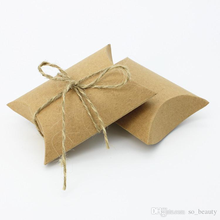 Kraft Pillow Candy Boxes Wedding Faovrs Christmas Anniversary Party Gift Paper Box or white Color