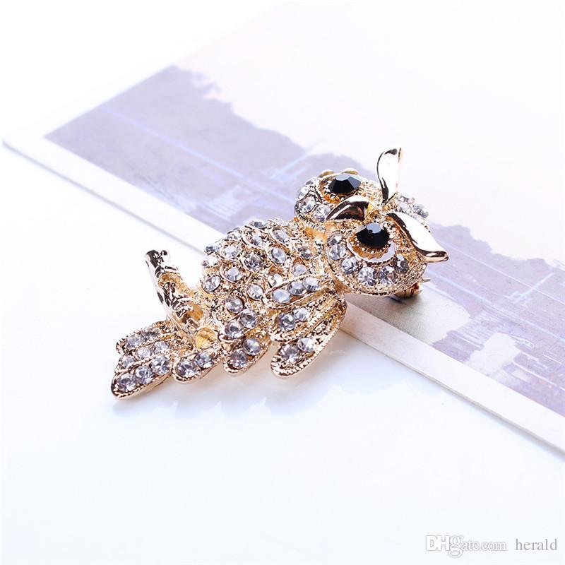 Große Vogel Eulen Vintage Broschen Antiquitäten Bouquet Eule Hijab Pin Up Designer vermählt Broach Schal Clips Schmuck Fleur de Lis HD-143