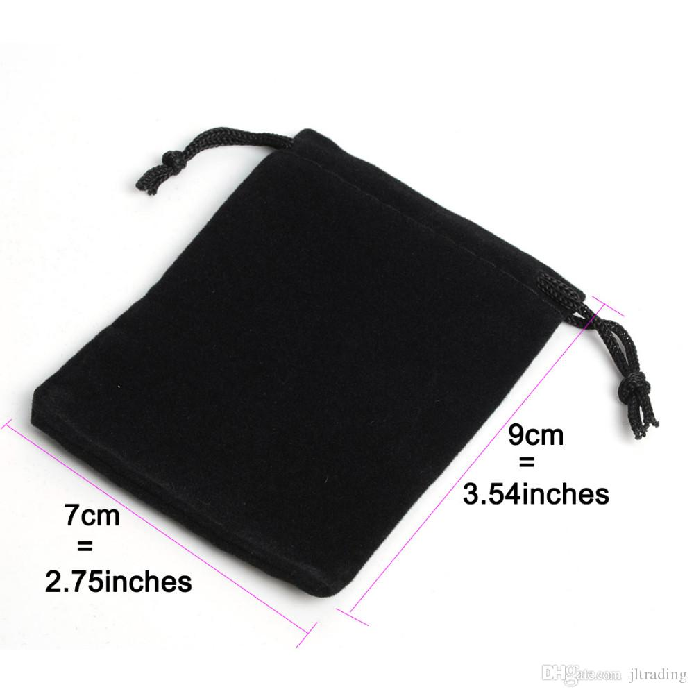 7x9cm Portable Black Velvet Gift Pouch Small Jewelry Bag jewelry Packaging Pouch