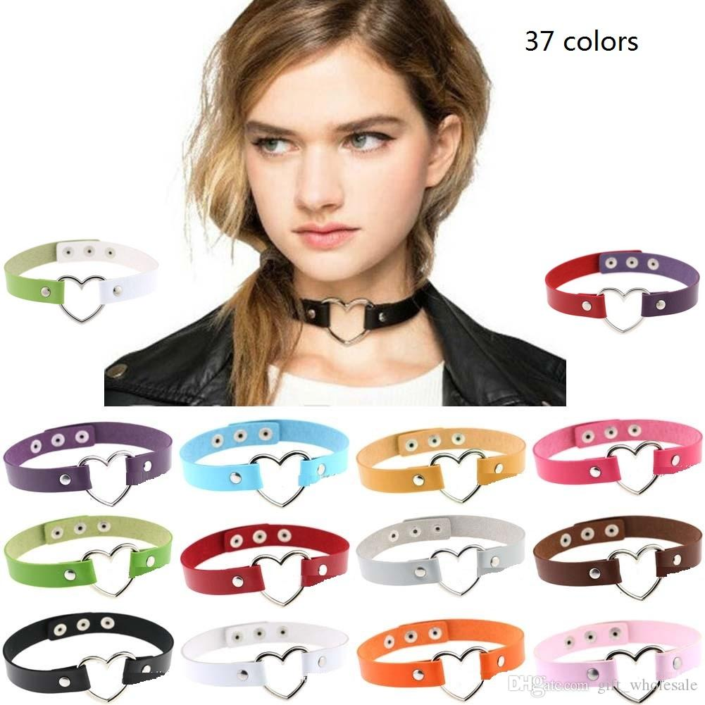 Women Favorite Punk Goth Leather O Ring Collar Choker Funky Necklace Jewelry