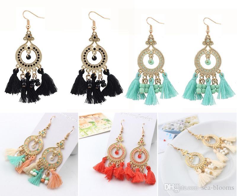 Neue Mode Vintage Böhmischen Ohrringe Für Frauen Mode Ethnische Multicolor Strass Tropfen Ohrringe Eardrop Großhandel Boucle Doreille Ohrringe