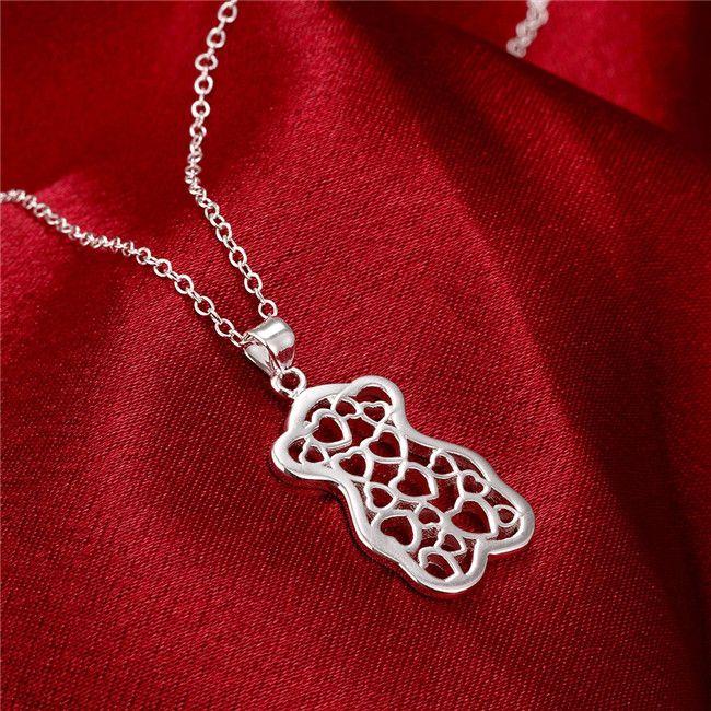 Vente chaude Femme Petit Bear Shape Collier Collier Sterling Argent Plaqué STSN770, Collier en argent 925 Cadeau de Noël