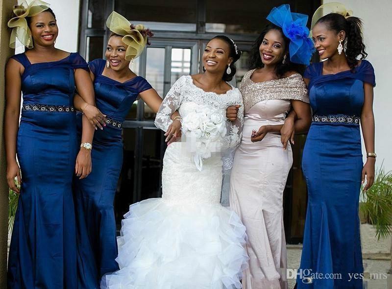 Africano Nigeriano Sereia Vestidos de Casamento 2017 Mangas Compridas Lace Apliques Frisado Plus Size Tribunal Trem Organza Ruffles Tiered Vestidos de Noiva