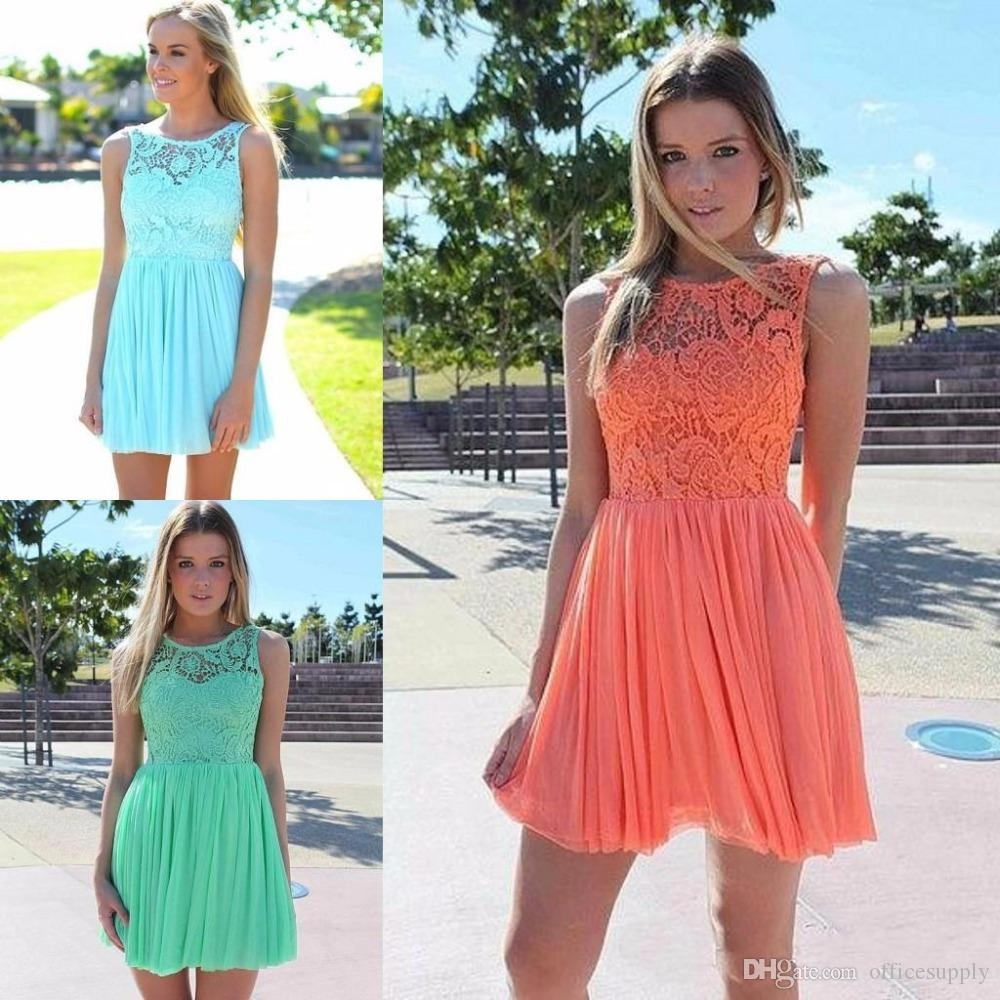 Light Wedding Dresses For Abroad: 2016 Summer Beach Coral Turquoise Lace Bridesmaid Dress