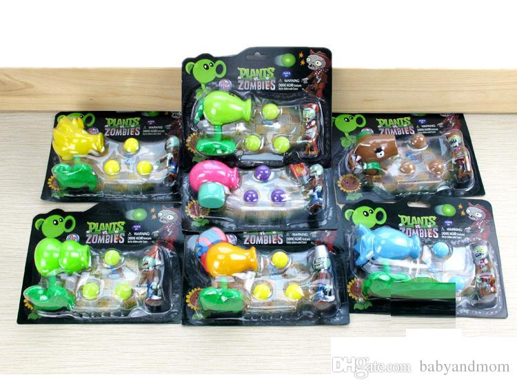 2016 New Plants vs Zombies Figure Toys Gatling Pea ABS Shooting Doll PVZ Toys 15 styles for choices