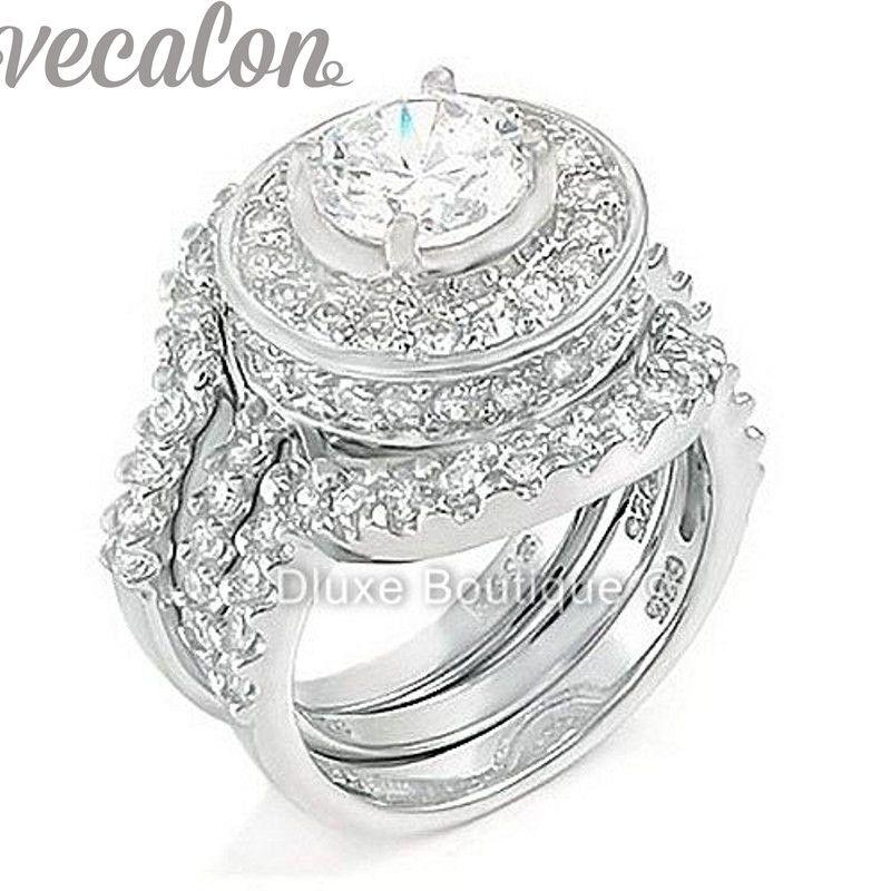 Vecalon мода кольцо имитация Алмаз Cz 3-в-1 обручальное кольцо обручальное кольцо набор для женщин 10kt белого золота заполнены палец кольцо