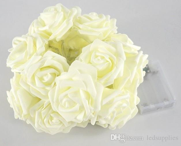 4 m 40 led corda luzes de fadas bateria operado rose flores flash luzes guirlanda para decoração de festa de casamento jardim