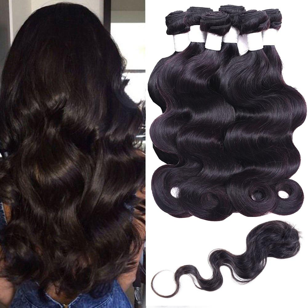 Unprocess Peruvian Remy Hair Body Wave Straight Natural Black Human