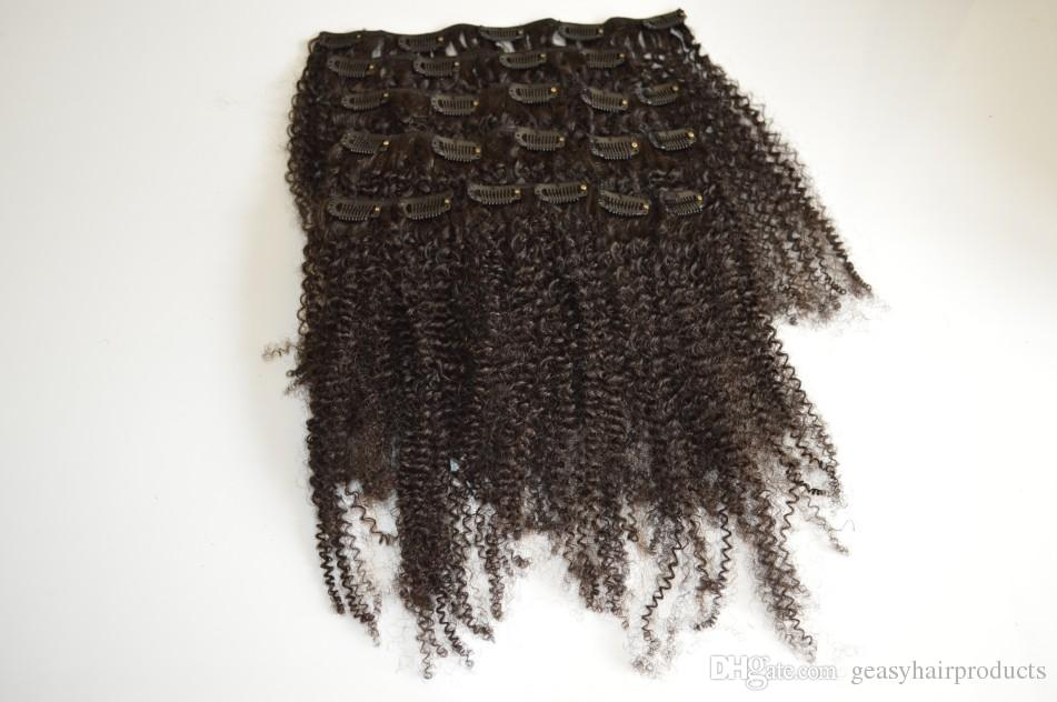 G-EASY African American Clip In Hair Extensions Human Unprocessed Virgin Brazilian Afro Kinky Curly Clip In Hair Extension 120G