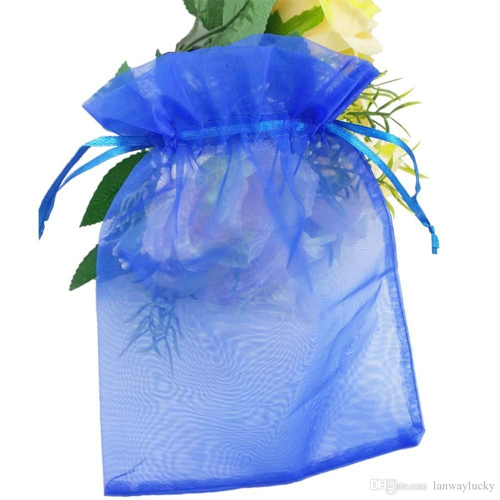 "Royal Blue Organza Drawstring Pouches Jewelry Party Small Wedding Favor Gift Bags Packaging Gift candy Wrap Square 5cm X7cm 2"" X2.75"""