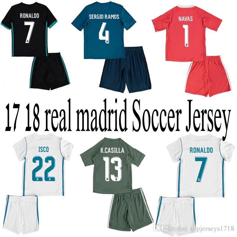 560bdb395c2 real madrid 1 navas white home youth kids child short sleeves 2016 2017  club soccer jerseys