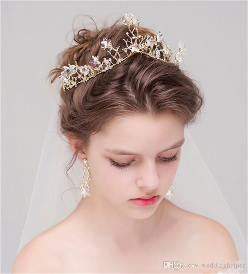 Vintage Wedding Bridal Gold Crown Tiara Headpiece Headband Crystal