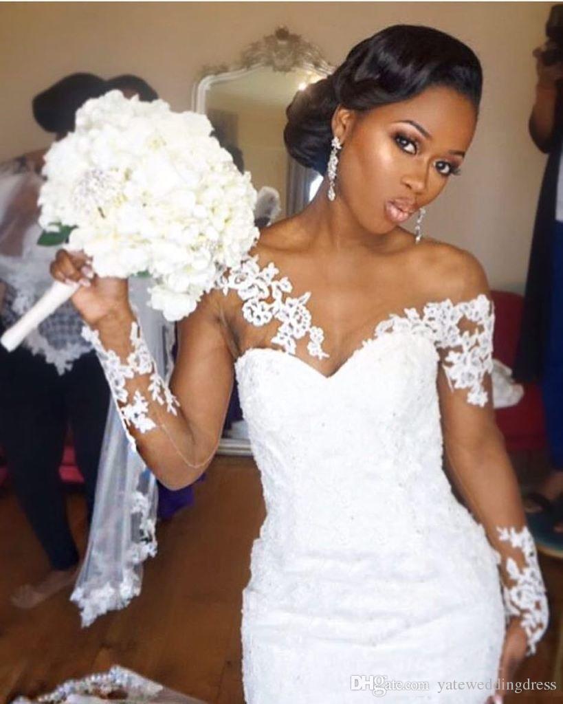 Fora Do Ombro Longo Ilusão Mangas Vestidos Para Bridals Estilo Sereia Com Applique Lace Voltar Zipper Sweep Train Custom Made Vestidos De Casamento