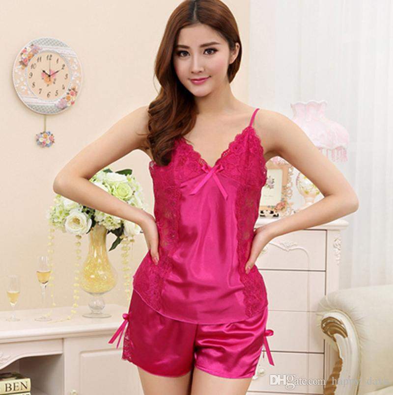 b59fd05cf2 Ladies Summer Sexy Underwear Silk Satin Pajamas Sleeveless Pyjama V ...