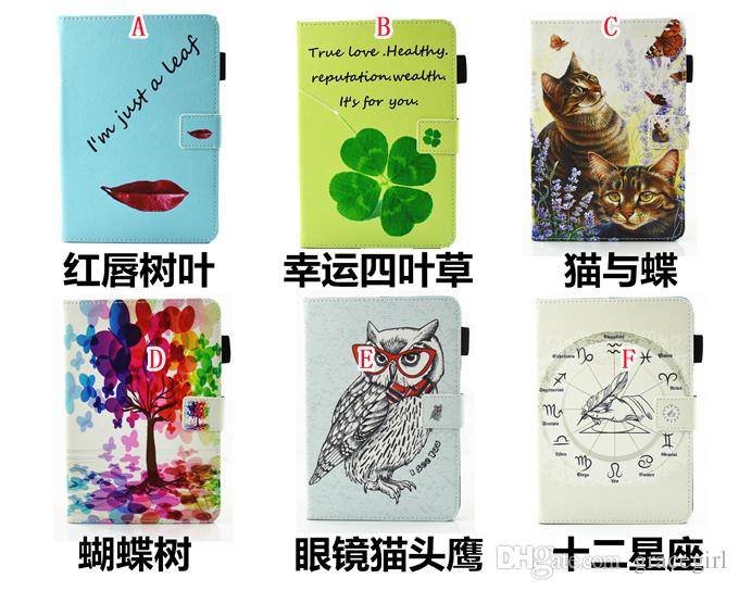 Cartoon Clover Lucky Leaf Smart Leather Case Stand Pouch For Ipad Mini 4 1 2 3 tablet Fashion Cat Owl Tree Flower Cards Slot Soft Skin Cover