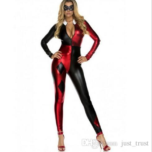 Acheter Chaud Sexy Squad Suicide Cosplay SuperGirl Harley Quinn Zentai  Costumes Halloween Party Buffoon Clown Doux Fait Bodysuit De  19.1 Du  Just trust ... f8a776ba8f3