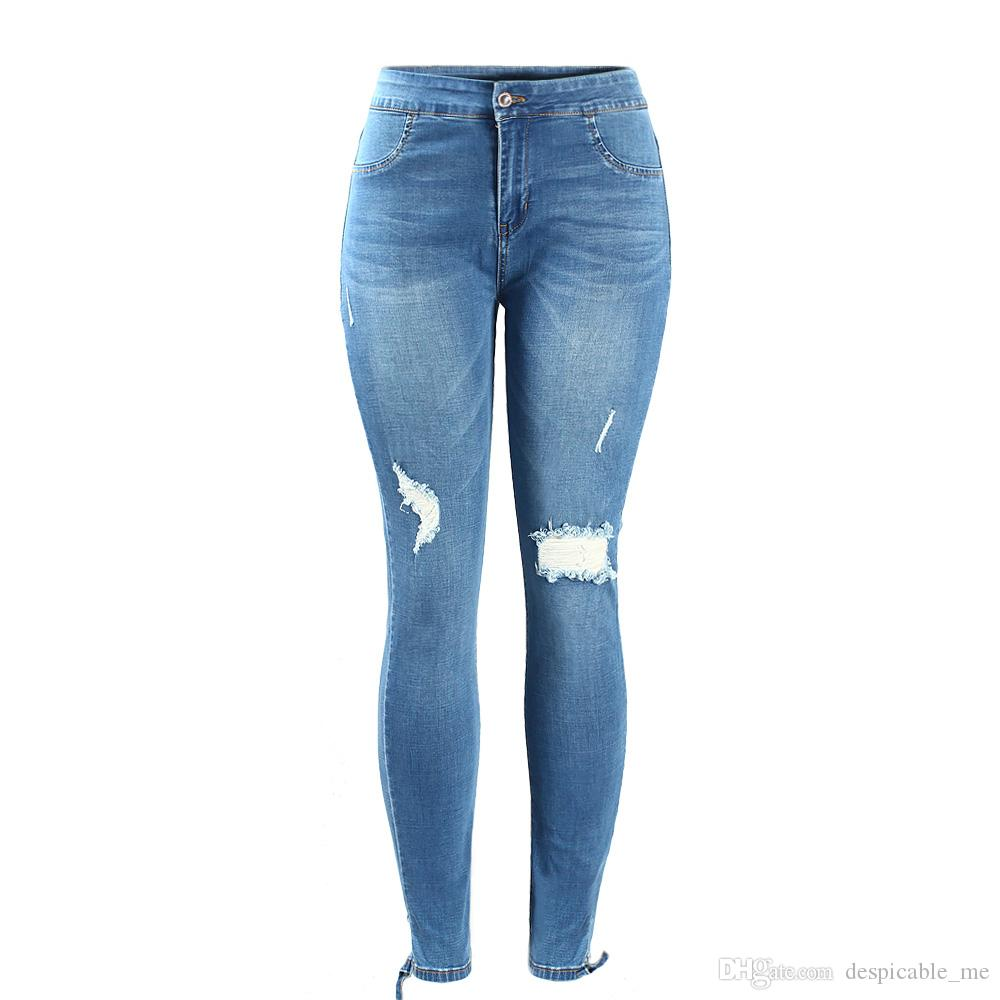 d691ae11db9f2 Women`s Plus Size Mid Waist Ultra Stretch Ripped Knees Torn Hem Denim Pants  Jeans For Women Online with  55.11 Piece on Despicable me s Store