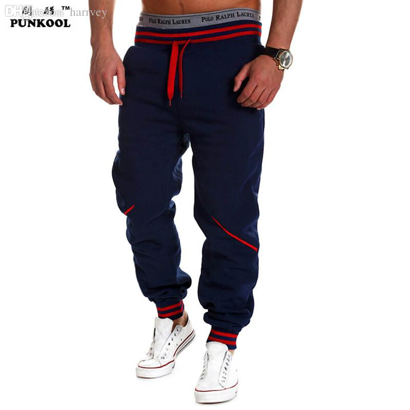 Wholesale-PUNKOOL Men Gym Sweat Pants 2016 New Fashion Loose Cotton Casual Mens Joggers Sweatpants Tracksuit Sport Men Trousers Hombre